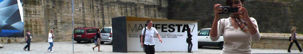 Matthew Fuller crossing the road, Manifesta7, Bolzano, Italy.